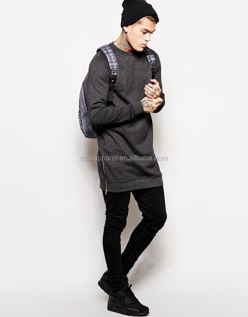 Longline Style Sweatshirt Crew Neck Side Zip To Hem Design ...