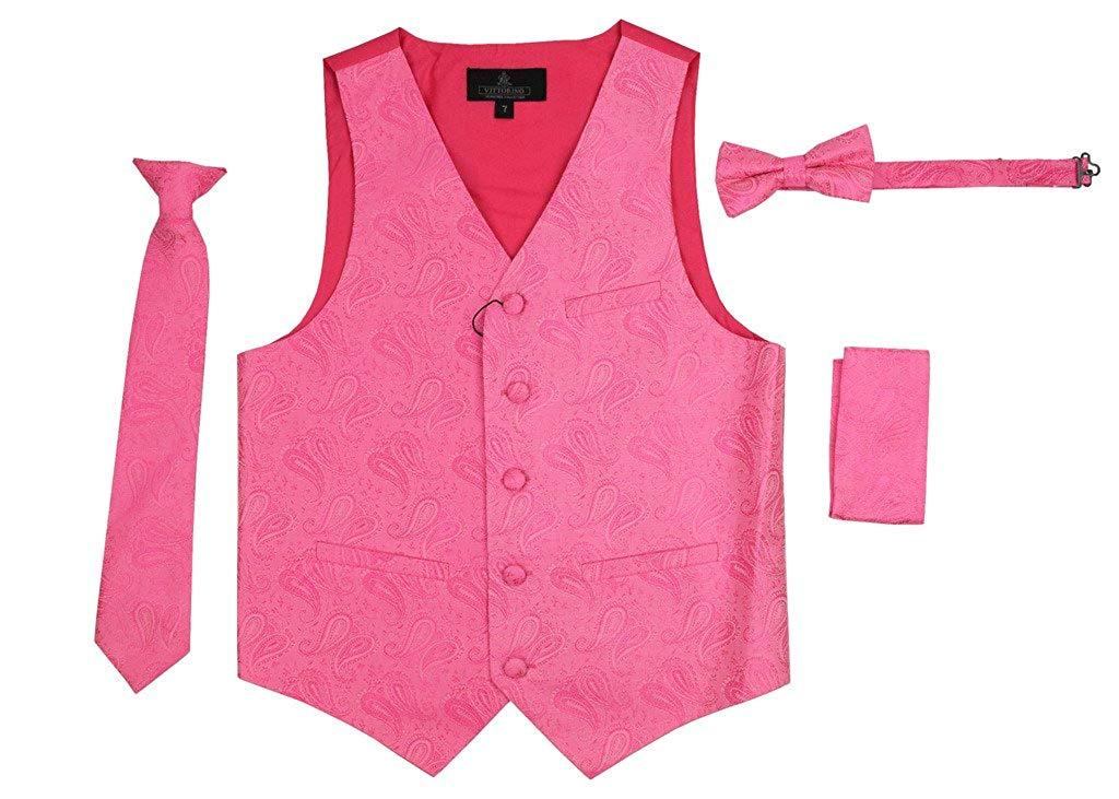 57162cc5a945 Get Quotations · Vittorino Boy's 4 Piece Formal Paisley Jacquard Satin  Tuxedo Vest Set Vest Tie Bowtie Handkerchief Set