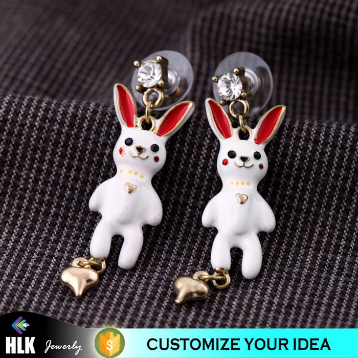 animal hoodie with ears small gold heart dangle jewelry white rabbits ceramic earring