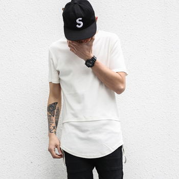 Scoop Hem Design curved hem stylish men tee extra long hip hop white T-shirt 54c0f48fbdd