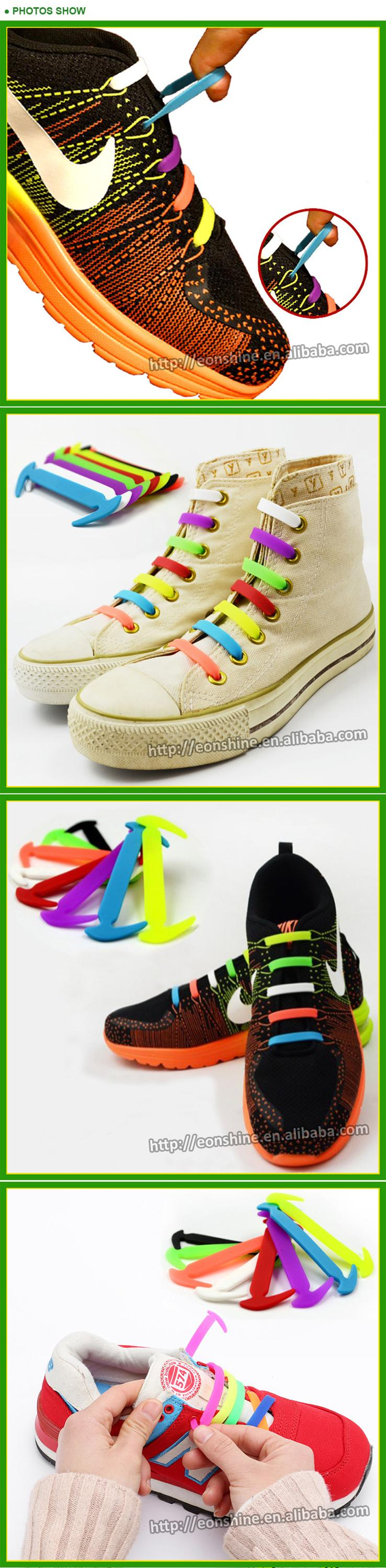 2018 No Tie Shoelaces Elastic Lock Shoe Laces Silicone Shoelaces for Running Shoes