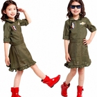 PGCC2386 Wholesale Kids Girls Military Army American Fancy Dress Top Gun Cosplay Costume