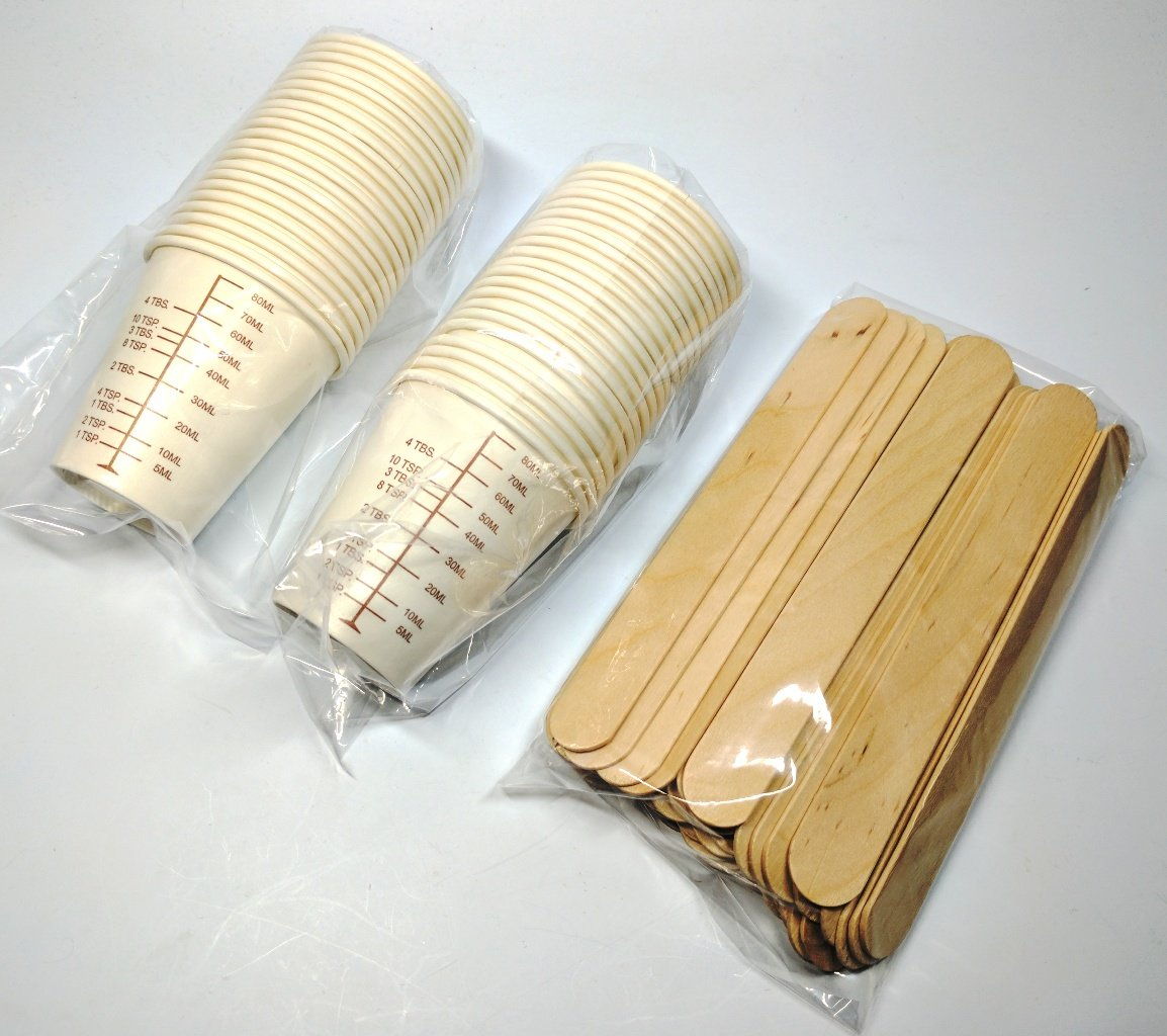 NSI Small Batch Mixing Kit: 50 Graduated Cups and 50 Sticks for Paint, Resin, Epoxy