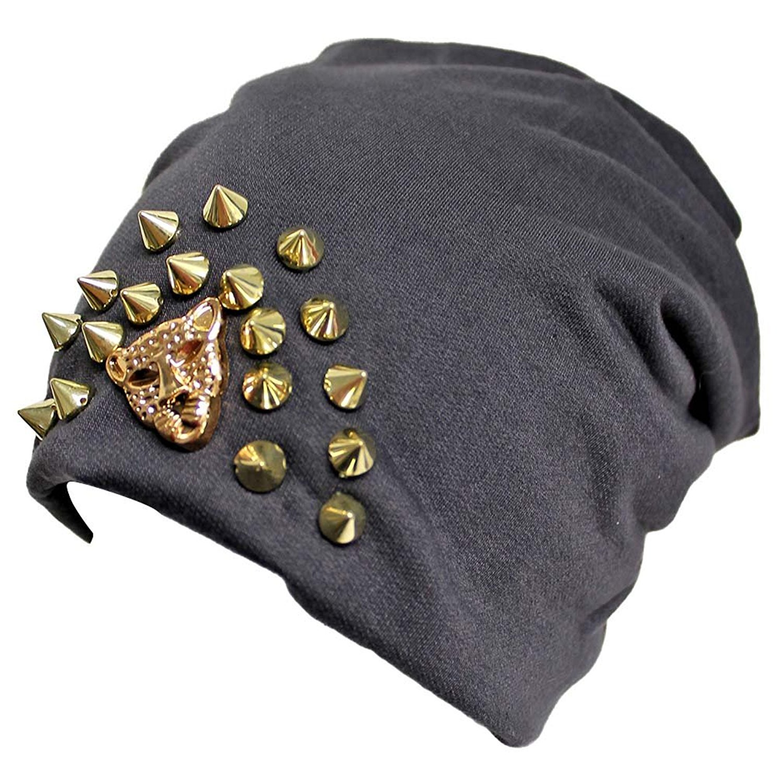 6cc07e021be4b Buy Luxury Divas Black Slouchy Spike Studded Fleece Lined Beanie Hat ...