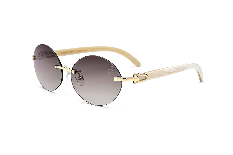 HEPIDEM 100/% Really Buffalo Horn Handmade Sun Glasses Square Rimless Luxury Sunglasses 0816
