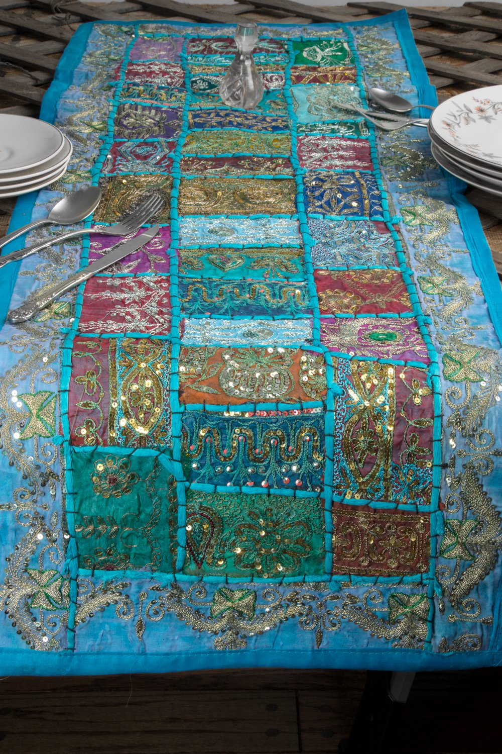 """Blue Table Runner 100% Cotton 18"""" x 58"""" Hand Embroidered Boho Bohemian Colorful Patchwork Indian Decoration Reception Party Wedding Decor Tapestry"""