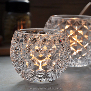 Ball shape cheap crystal candle holder / tealight jar / crystal glass vase for plant