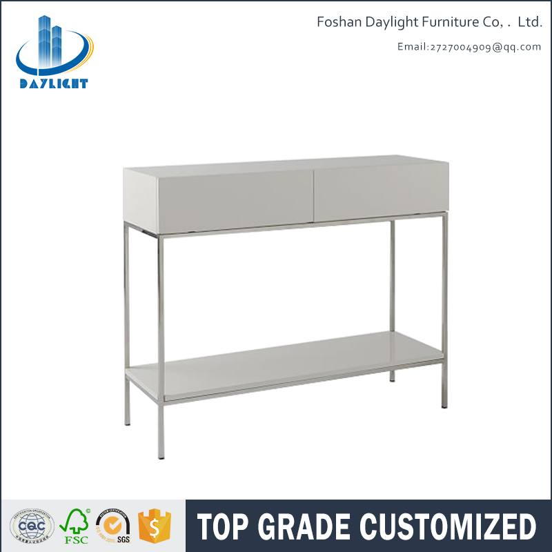 Lacquer finished industrial luxury gold white storage console table