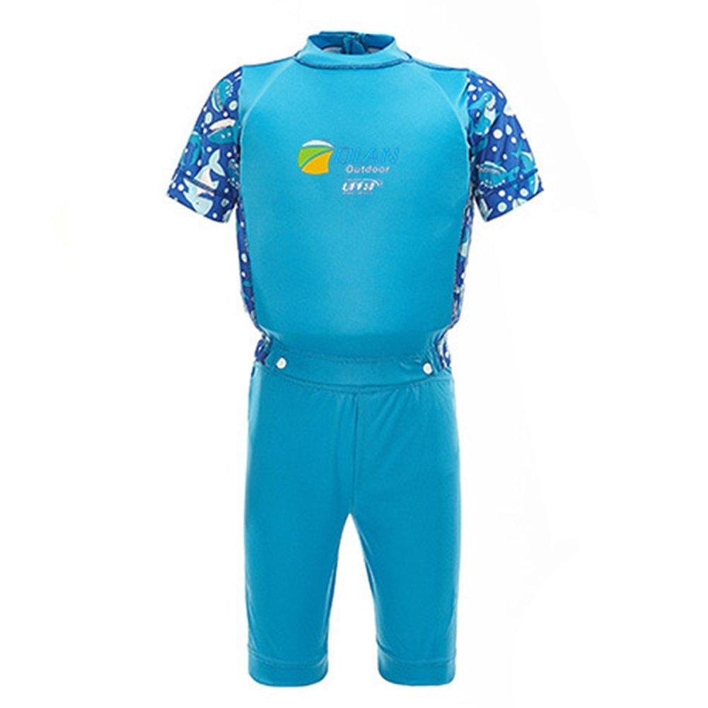 775b5dd6f7 Get Quotations · 2-piece Boys Swimming Float Suit Swim Aid Wear Neopren Suit,  Blue 7-