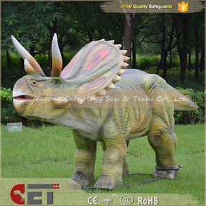 Dinosaur world Amusement park E-park Animatronics triceratops dinosaur model for sale for attractions