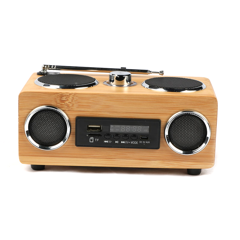 Portable beautiful design bamboo usb SD card <strong>wireless</strong> usb <strong>bluetooth</strong> <strong>speaker</strong> with fm radio