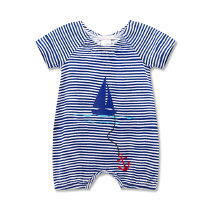 2018 Newborn Baby Rompers Short Sleeve Bamboo Stripe Baby Girl Jumpsuit Clothes