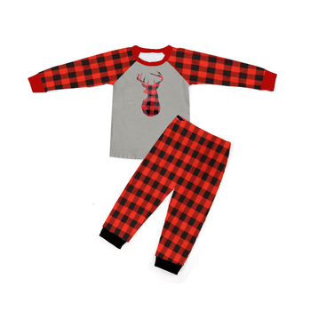 wholesales kids toddlers baby clothing unisex Christmas outfit antler Christmas 2pc set