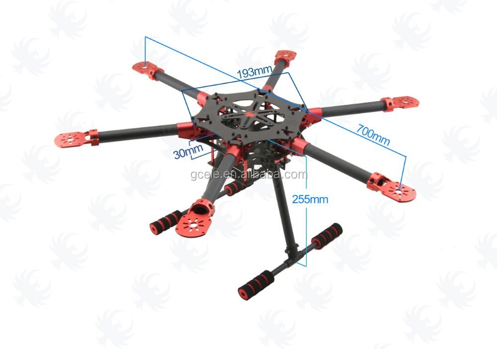 700mm 3K Carbon Fiber Self-lock Umbrella Folding-arm Hexacopter Frame Kit  with Landing Gear for RC Multicopter FPV, View frame kit, WJD Product