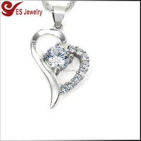 14K White Gold Overlay S925 Sterling Silver Diamond Inlaid Forever Lover Heart Pendant Necklace