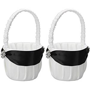 MicroMall(TM) Set of 2 , Elegant Satin Wedding Flower Girl Basket for Wedding Party by MicroMall(TM)