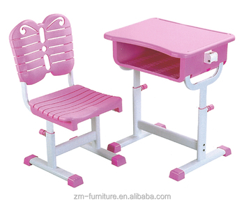 Attirant Adjustable Toddler Kids Plastic Reading Table And Chairs , Pink Color