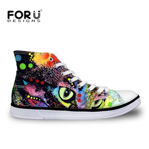 Stylish Watercolor Animal Custom Printed Women Casual High Top Plain Canvas Shoes
