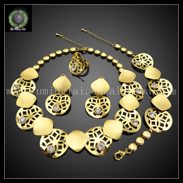Wholesale 24K gold plated jewelry sets bridal chinese luck elements jewelry sets