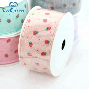strawberry printed 2 inch merry christmas wired ribbon