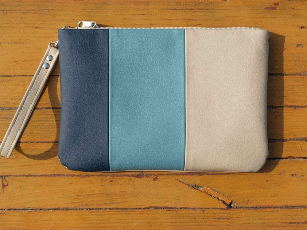 Clutch Bag Handmade Blue Navy Cream Purse Vegan Eco Faux leather Handbag Strap Evening Bag wedding bridesmaid