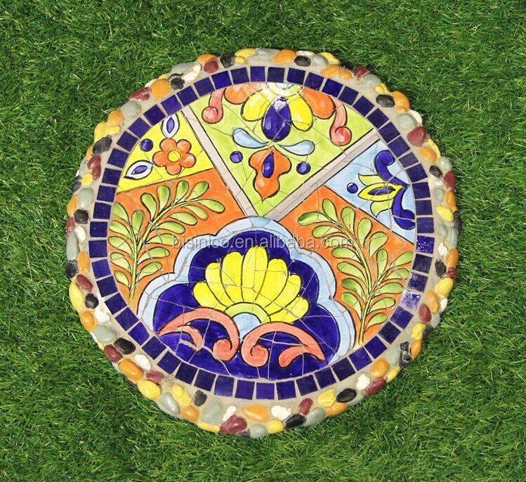 Ceramics Mosaic Stepping Stone, Mexico Style Outdoor Decorative Paving Stone  (BF01 P1004)