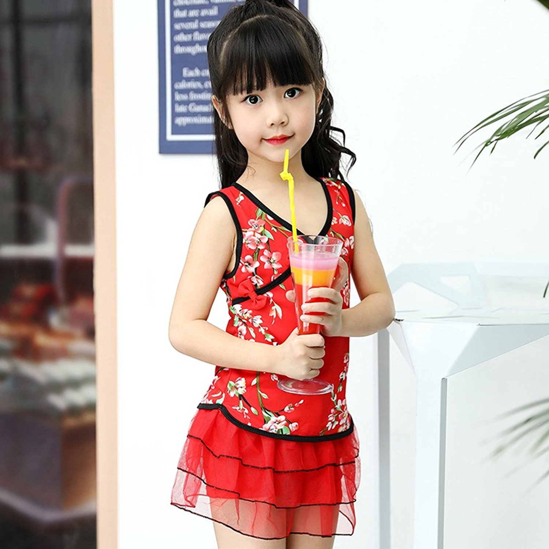 6a8465a6b3857 Get Quotations · BERTERI One-Piece Creative Colorful Chinese Cheongsam Swimsuit  Bathing Suits Bikini Swimwear for Baby Girls