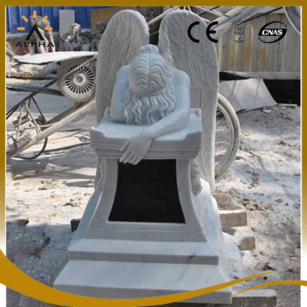 White Marble Life Size Weeping Angel Garden Statue