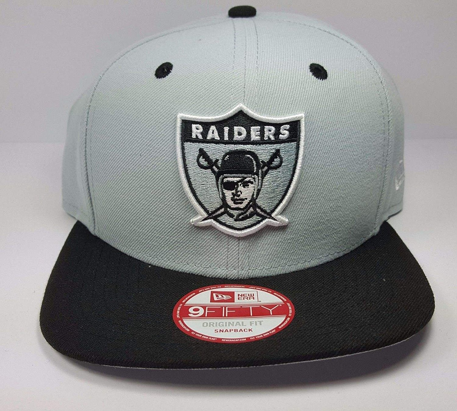 b60c1991432 Get Quotations · New Era Los Angeles Raiders 9Fifty Vintage Throwback 2  Tone Logo Adjustable Snapback Hat NFL
