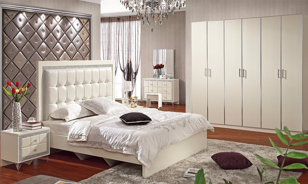 8002C Top Sales In Dubai Dragon Mart Cream Color Bedroom Set Furniture