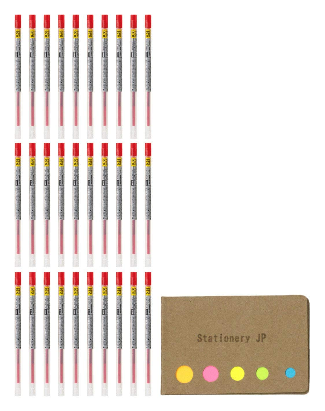 Uni-ball Signo Gel Ink Refills for Uni Style Fit Gel Multi Pen 0.38mm Red Ink, 30-pack, Sticky Notes Value Set