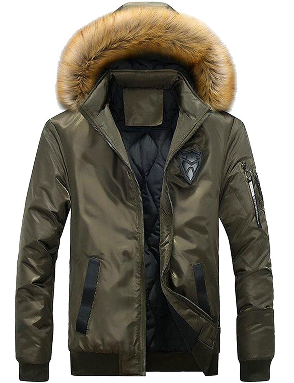 Hokny TD Mens Winter Outwear Faux Fur Hooded Camo Print Coat Jacket