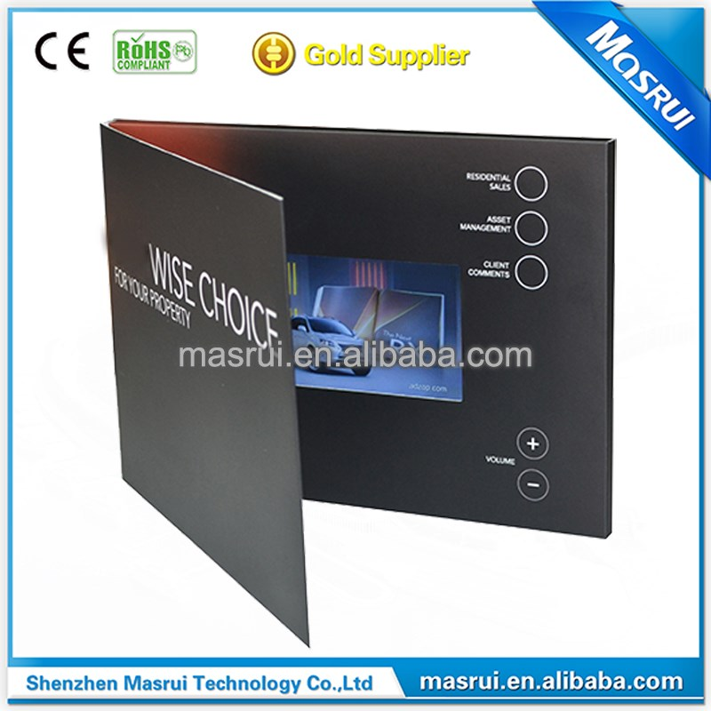 5.0 inch lcd video in folder catalogue with 256M momery