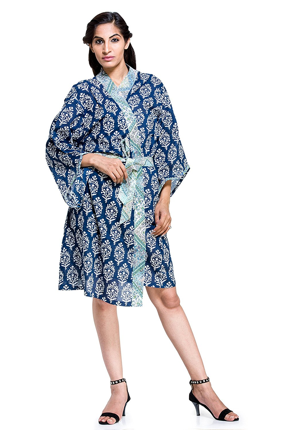 787c980661 Get Quotations · Womens Ladies Floral Dressing Gown Robe Indian Cotton  Nighwear Lingerie dress