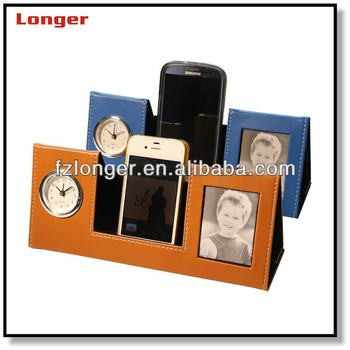 Fancy Desktop Pu Leather Clock Mobile Phone Holder With Alarm And Photo Frame