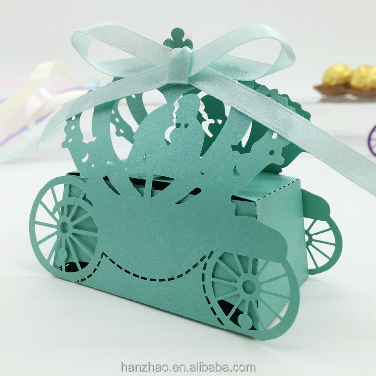 Laser Cut Wedding Favor Cart Shaped Candy Box Chocolate Boxes