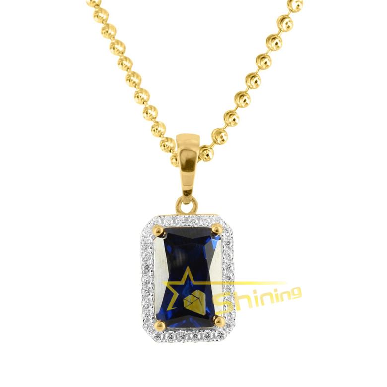 Lady Fashion Jewelry Big Heart Cut Rose Sapphire Gold Tone Collier Pendentif