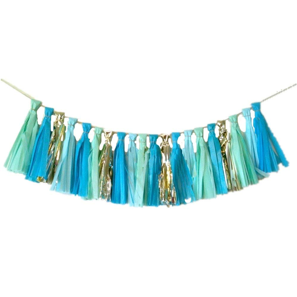Silver And Blue DIY Tissue Paper Tassels Party Decoration Supplies Sets 16 PCS Tassel Garland Banner for Birthday Party Bridal Shower Wedding Silver Garland Bunting Pom Pom