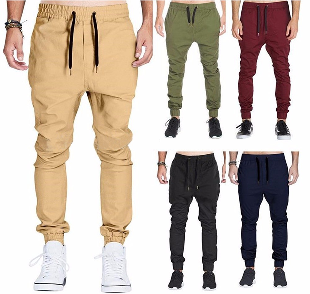Wholesale Men Twill Chino Cargo Baggy Sweatpants Slim Fit