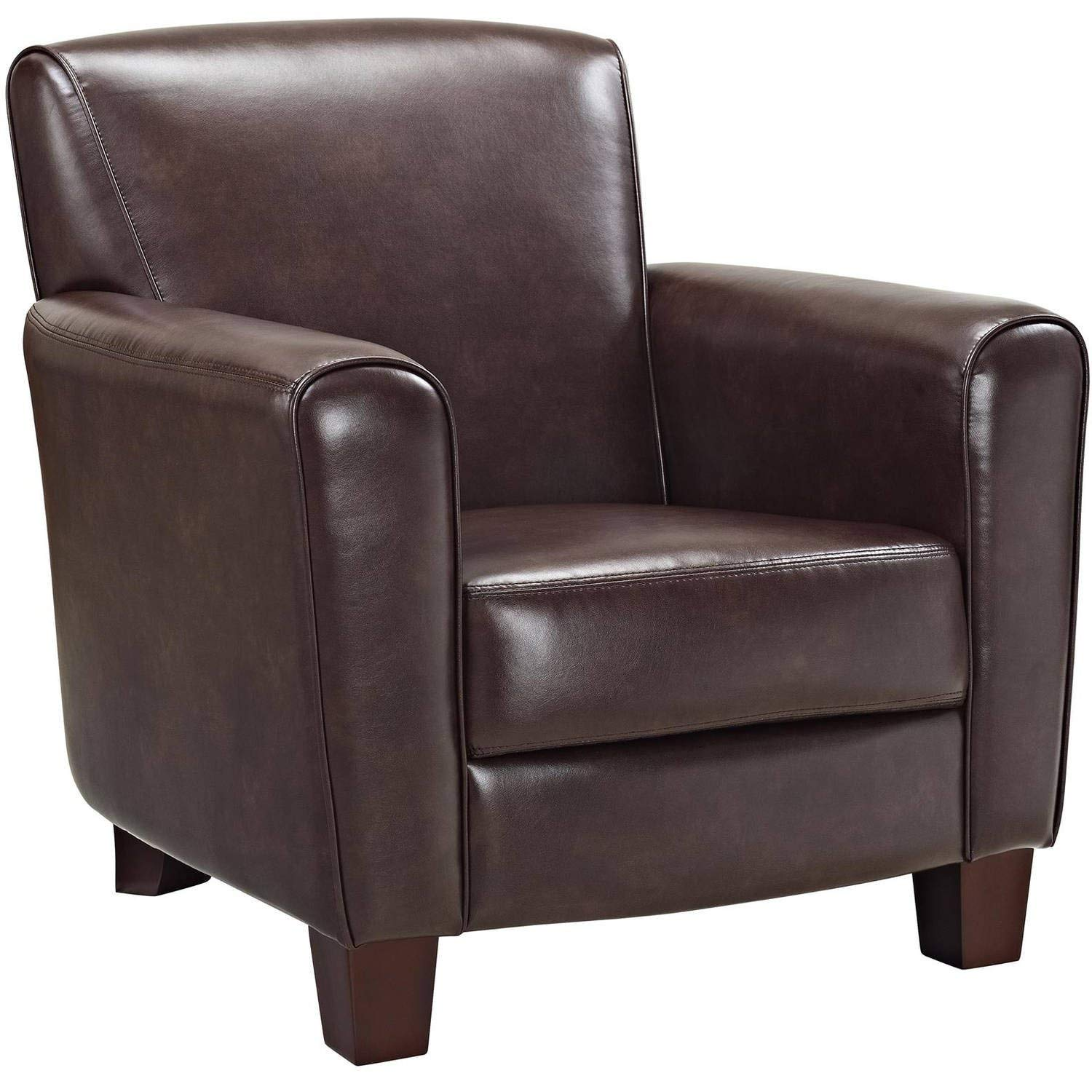 Get Quotations · Bonded Leather Accent Club Chair, Sturdy Wood Legs,  Comfortable Seat, Traditional Style,