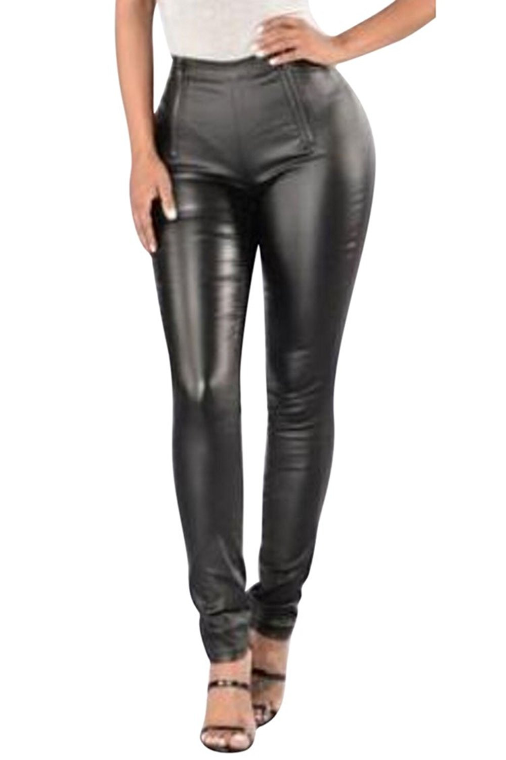 988db7e4781386 Get Quotations · Pink Queen Women's High Waist Sexy Pu Leather Pants Chic  Faux Leather Skinny Pants