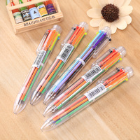 Lovely Multi-color Ball-point Pen Korean Stationery Multifunctional Press Ink Color or 6 In 1 Multi Colours Ball Pen