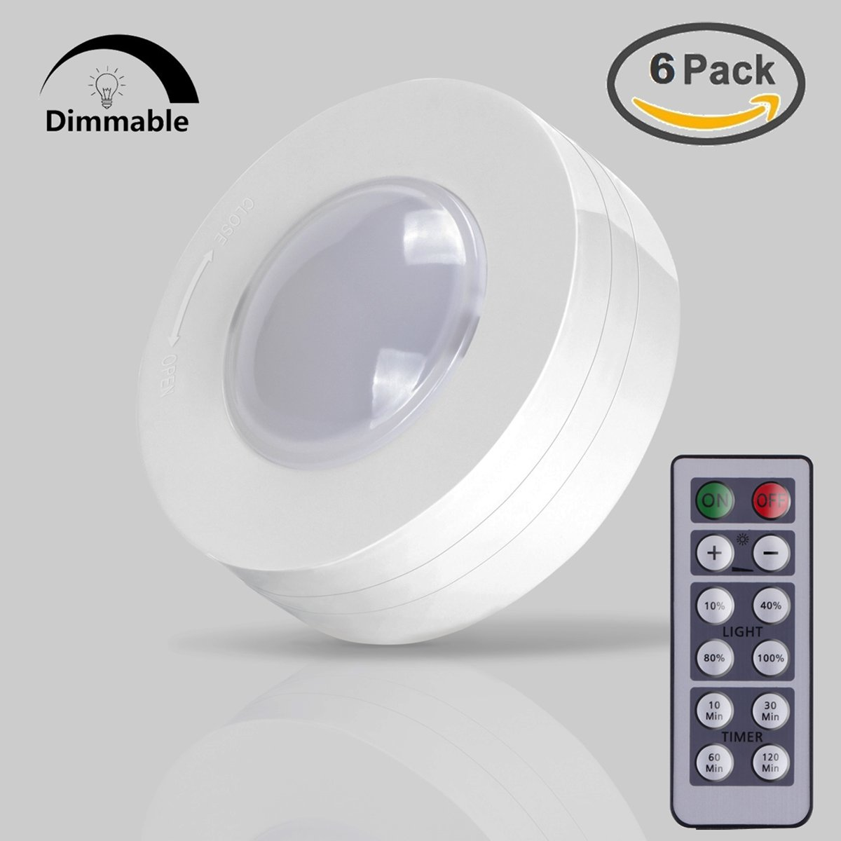 Get Quotations · Pack Of 6 LED Puck Lights, AKAPH Wireless Battery Operated  Stick On Touch