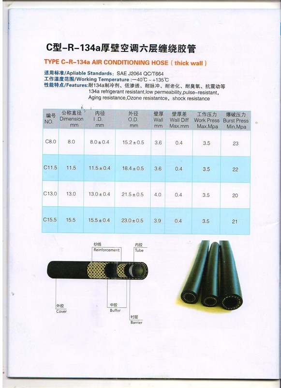 Factory Barrier Standards Air Conditioning Hose R134a - Buy Barrier Air  Conditioning Hose R134a,Barrier A/c Hose,Automobile Barrieer Air  Conditioning