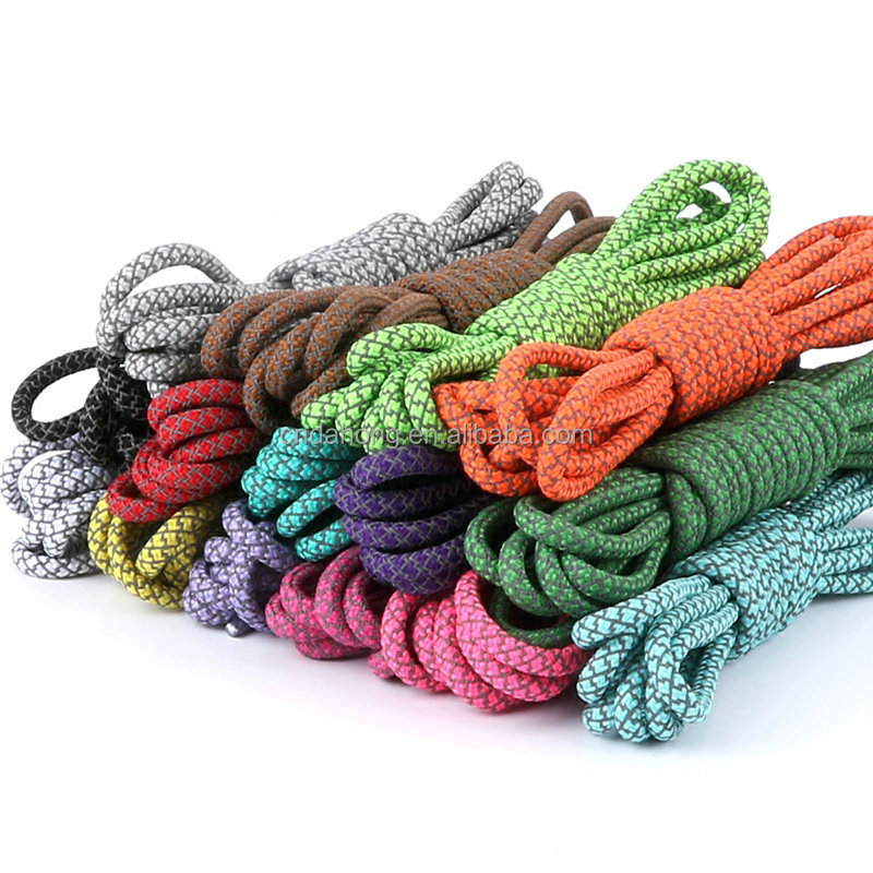Wholesale Multi Colors Polyester Round Rope 3M Reflective Shoelaces For Runner