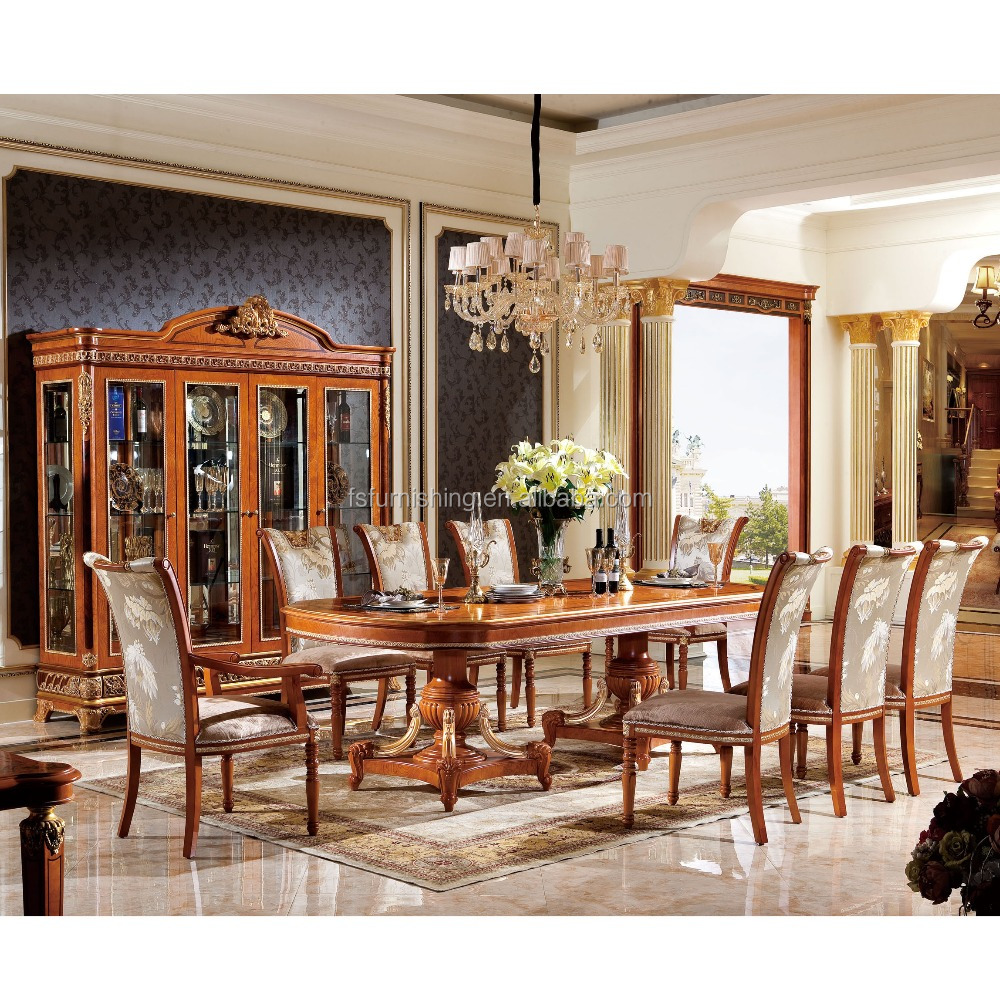 YB62 Luxury Classical Royal Baroque Arm Chair French Style Wooden Dining Furniture Room Table Set