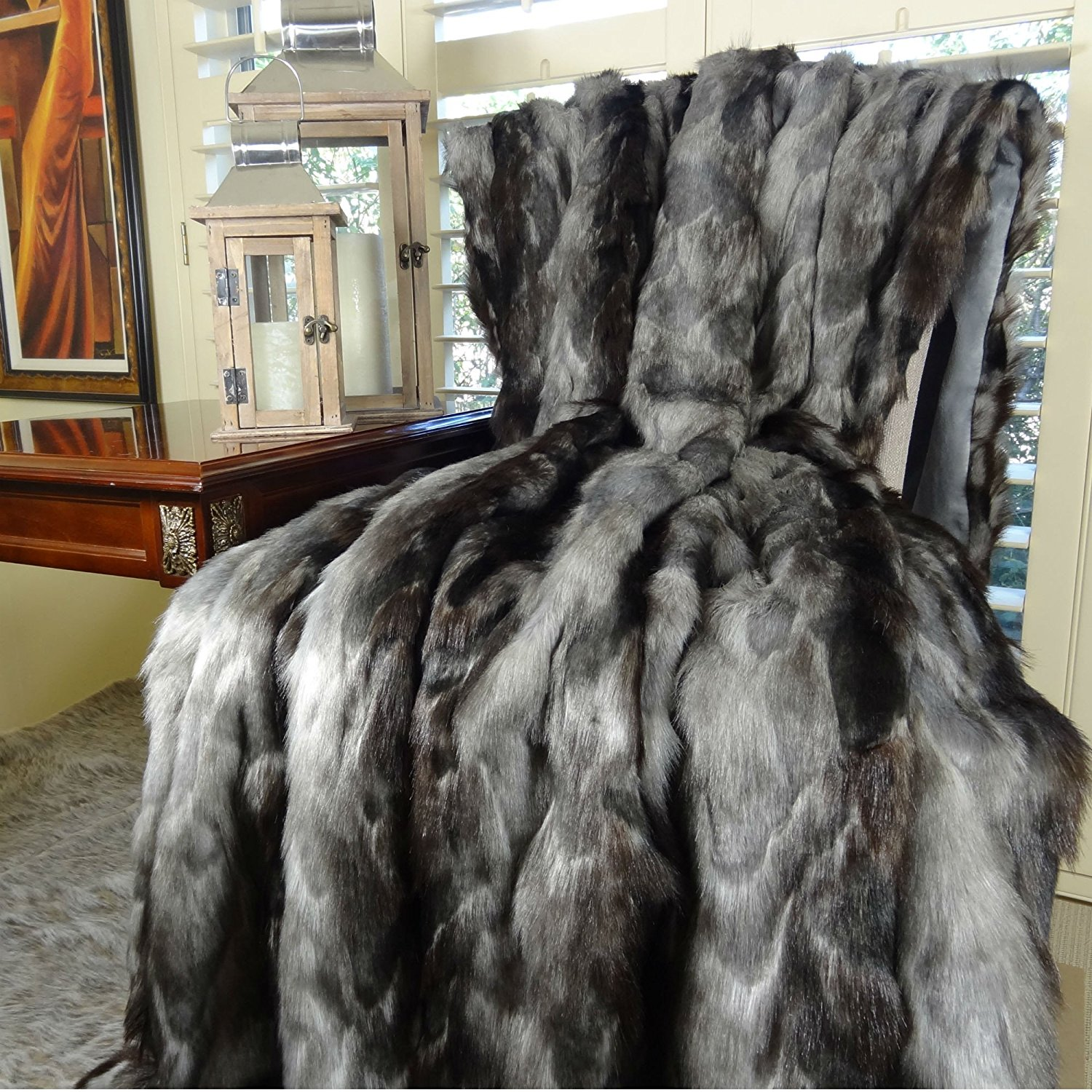 Thomas Collection Exotic Gray Fox Faux Fur Throw Blanket & Bedspread, Gray Charcoal Black Fox Fur, Gray Fox Throw Blanket, Luxury Soft Fox Faux Fur, Made in America, 16439