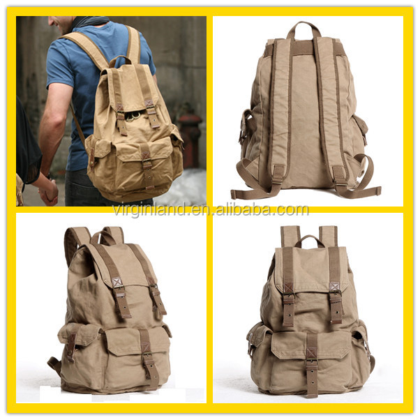 2350 Wholesale Medium Size Khaki Canvas Sports & Leisure Bags For Men