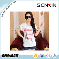 100 cotton 180gsm silk screen printing t shirt design for women OEM