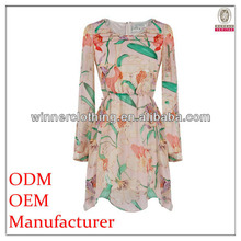 New Arrival good quality chiffon round collar printed long sleeve ombre dress